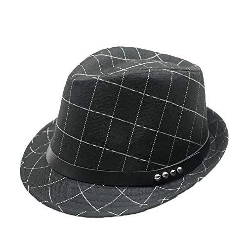 FloYoung Unisex Vintage Plaid Cotton Top Fedoras Hat Trilby Jazz Cap Black