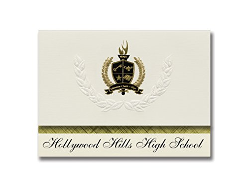 Hollywood Stationery (Signature Announcements Hollywood Hills High School (Hollywood, FL) Graduation Announcements, Presidential style, Basic package of 25 with Gold & Black Metallic Foil seal)