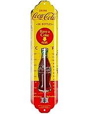 Nostalgic-Art Analog retro termometer Coca-Cola – flaskor gul – presentidé för köksfans, av metall, dekoration vintage design, 6,5 x 28 cm