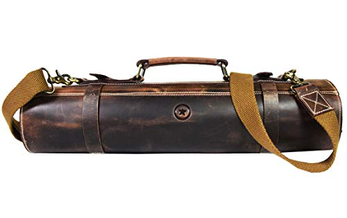 Leather Knife Roll Storage Bag | Elastic and Expandable 10 Pockets | Adjustable/Detachable Shoulder Strap | Travel-Friendly Chef Knife Case Roll By Aaron Leather (Walnut (Brown Lining), Leather)