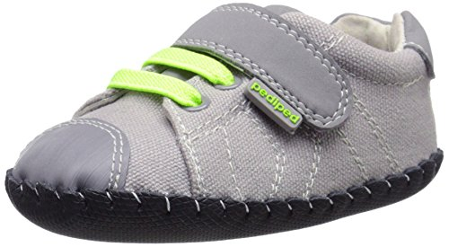 pediped Originals Jake Sneaker (Infant/Toddler), Grey/Lime, Small (6-12 Months E US Infant)