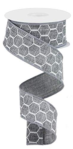 (Chicken Wire Canvas Wired Edge Ribbon - 10 Yards (Grey, White, 1.5