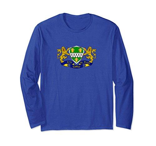 Unisex Coffey (O'Coffey) Irish Coat of Arms Long Sleeve T-Shirt Large Royal Blue (Coat Arms Irish Family)