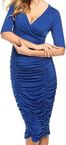 Bodycon Dalla Con Blu Scollo V Cruiize Lunga Solido Womens Manica Vestito A Increspato Matita 8pxTXqg