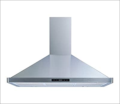 "Winflo 36"" Wall Mount Stainless Steel Convertible Kitchen Range Hood with 450 CFM Air Flow, Touch Control, Aluminum Grease Filters and LED Lights"