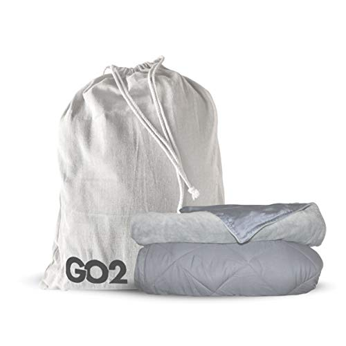 Cheap Go2 Weighted Blanket | 15lb Travel Friendly Throw Size w/Cooling Bamboo and Minky Cover | Great for Kids and Adults (Combo Gray) Black Friday & Cyber Monday 2019