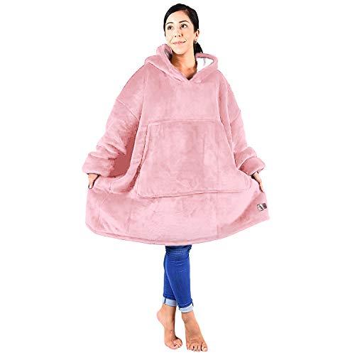 Blanket Sweatshirt, Reversible Sherpa Oversized Giant Hoodie Cozy Warm Comfortable Sweatshirt with Pocket for Women & Children Pink ()