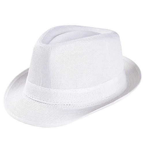 Wear Fedora Hat - Napoo Unisex Solid Color Beach Straw Hat Sun Cap (White)