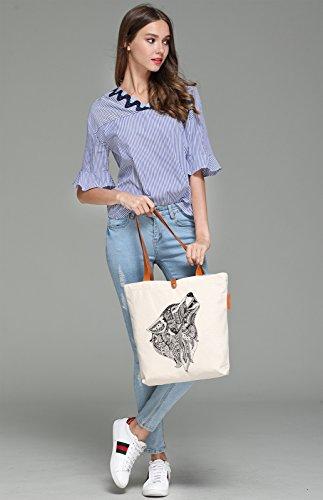 So'each Women's Wolf Animal Geometry Print Top Handle Canvas Tote Shoulder Bag