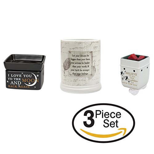 3 Pc Set Dream Bigger, Love You to the Moon, Believe in Possibilities Ceramic Jar, 2-in-1 and Plug-In Candle Warmers by Elanze Designs