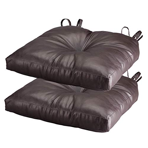 Chocolate Faux Leather Chair Pad Set of 2