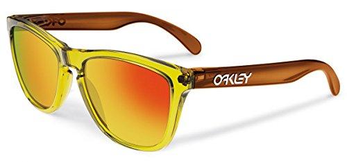 Oakley Men's Frogskins OO9013-39 Iridium Wayfarer Sunglasses, Octane/Fire Iridium, 55 - Oakley Frogskins Brown