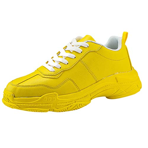 SUNyongsh Sneakers Men Outdoor Casual Sports Shoes Casual Shoes Little Whit Shoes Yellow ()