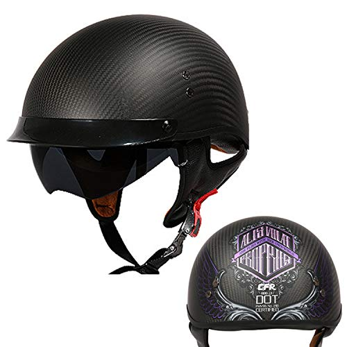 (FlyingBoy Adult Retro Motorcycle Half Helmet - High Density Carbon Fiber Enclosure and High Strength EPS Buffer/DOT Certified Men's and Four Seasons Riding Helmet,Purple,M )