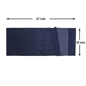 "Browint Silk Cotton Sleeping Bag Liner, Travel Sheet, 87""x35"" Travel Sleep Sack for Hotels, Super Soft and Lightweight (6 oz.) Sleep Sheet with Pillow Pocket"