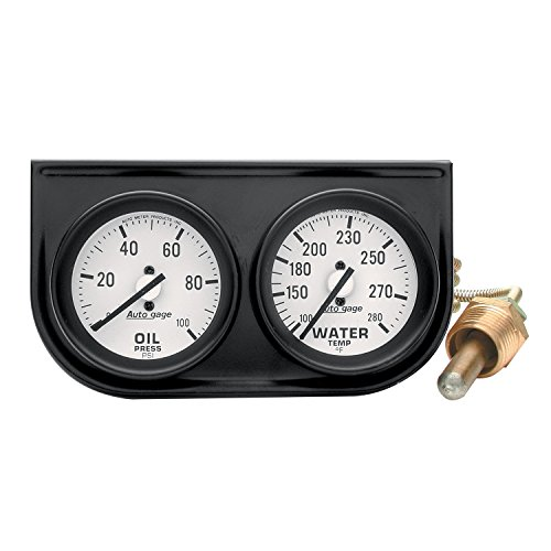 Auto Meter 2326 Auto Gage Black 2'' Mechanical Two-Gauge Console by Auto Meter