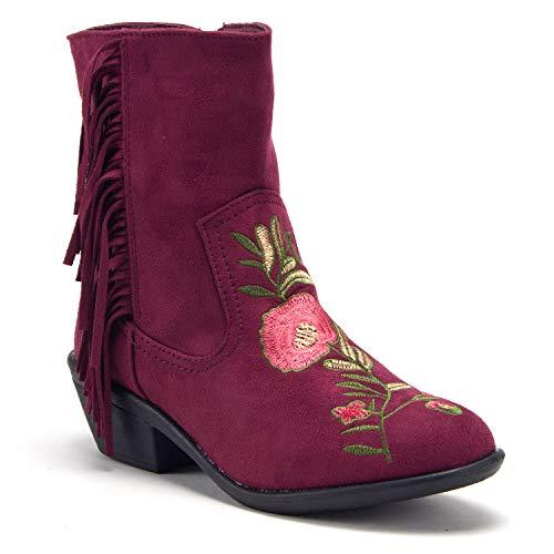 J'aime Aldo Women's Boho Chic Embroidered Fringe Cowboy Boots, Burgundy, -