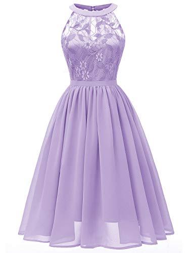 KCatsy Elegant Round Collar Sleeveless Lace Insert Prom Dress ()