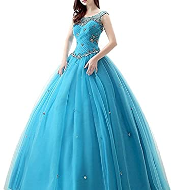 Kaitaijidian Womens Beading Quinceanera Dresses Prom Gowns Plus Size 524 Blue-2