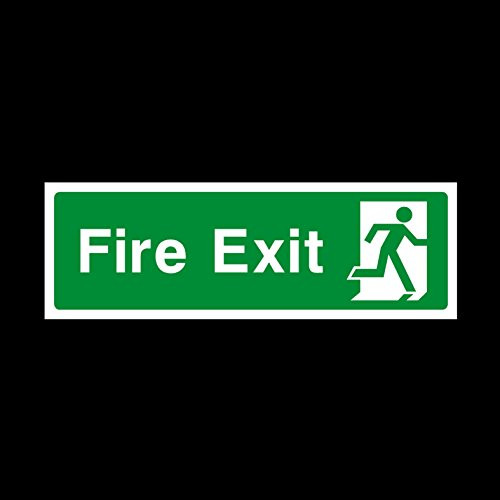 Fire Exit Final Right 300x100mm Plastic Sign - Fire / Emergency / Exit / Alarm / Push / Extinguisher / Assembly (EE75) by -
