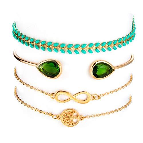 (Lullabb 4PCS Gold Adjustable Olive Leaf Bracelets for Women Girls Wheat Spike Multiple Stackable Wrap Bangle Brangle Green Luck Tree of Life Beach Foot Anklet)