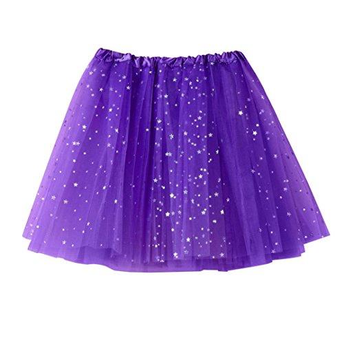 Moonuy Femme Mini Courte Robe Tutu Gaze plisse jupe courte Jupe de danse Tutu adulte jupe ballet tutu court en tulle couleurs varies Violet