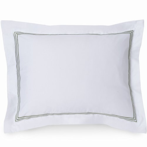 - Wickham Luxury Pillow Sham - 100% Cotton Euro Shams with Sage Linear Embroidery on White Pillow Shams