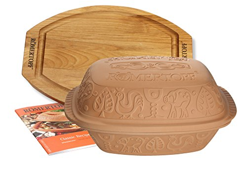 Glazed Cooker Classic Clay (Romertopf Classic Clay Cooker Set with Cutting Board and Cookbook, 4.2 quart, Natural)