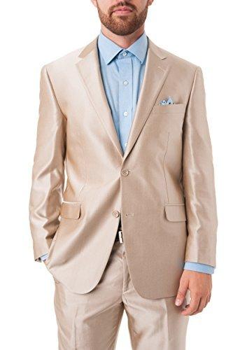 Chama Men's Beige Shark-Skin Slim Fit Italian Styled Two Piece Suit (40S US/34W)