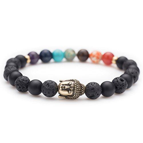 Karseer Bronze Buddha head statue Charm Yoga Meditation Chakra Stone Black Matte Onyx and Lava Beaded Healing Energy Stretch Bracelets 7
