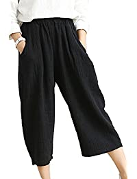 Women's Casual Elastic Waist Cotton&linen Wide Leg Cropped Pants