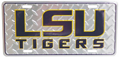 Game Day Outfitters NCAA Louisiana State Fightin Tigers Diamond Plate Car Tag (Tigers Diamond License Plate)