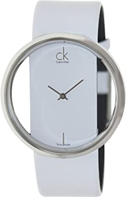 Calvin Klein Quartz, Genuine White Leather Strap with Crystal Clear Dial - Women's Watch K9423101