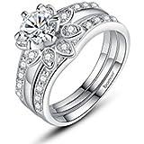 Dixey Luxury Anillos Sortijas 18k de Compromiso Aniversario Matrimonio Boda Oro Plata Anel De Ouro Prata
