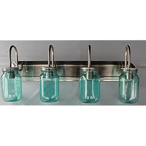 Mason Jar Vanity Light: Mason Jar Lighting, 4 Light Brushed Nickel Vanity Light With Blue Mason Jar Glass 70%OFF