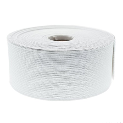 """Knitted Elastic Full Roll 50 Yards (Various Widths) (1 1/4"""" (50 Yards), White)"""