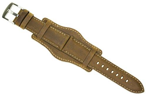 (18mm German Military Aviator Watch Strap Swiss Army Brown Leather Cuff Watch Band Brown 18 mm Bund)