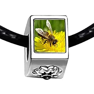 Chicforest Silver Plated Honeybee Gather Pollen Photo Black Crystal Flower Charm Beads Fits Pandora Bracelet