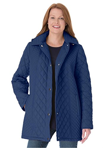Women's Plus Size Quilted Jacket, Hooded, With Slight A-Line Shape (Navy,28 W)