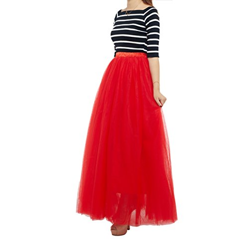 7 Layered Women's Eelastic Waist Tulle Skirts A-Line Floor Length Evening Gown Party Half Dress,Red