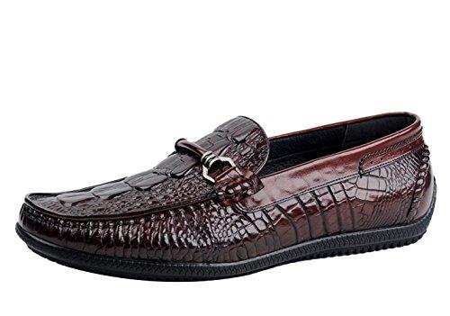 Insun Herren Leder Crocodile Pattern Halbschuhe Wein