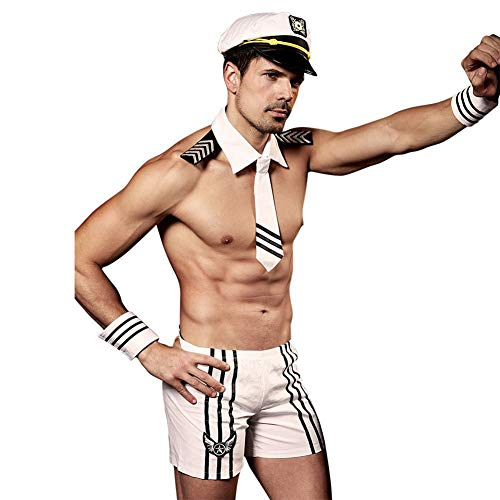 HPZSX Erotic Underwear Uniform Temptation Men's Sexy Charm Handsome White Navy Suit Multi-Piece Set,White,OneSize -