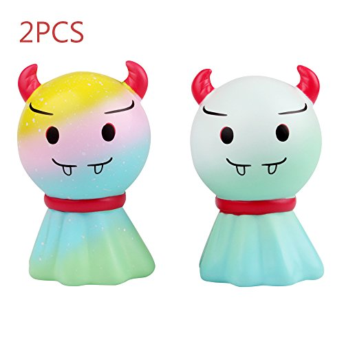 (LaooDa Jumbo Squishy 2PCS Ghosts Doll with Horn Slow Rising Stress Ball Kid Gift Fun Vampire Vent Mischievous Toy Party Supplies)