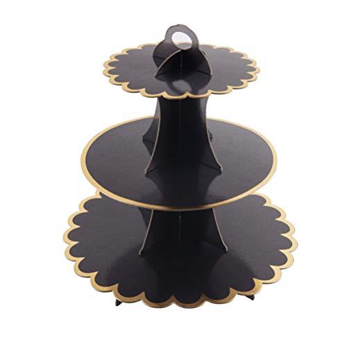3-Tier Cardboard Cupcake Stand/Tower, Flyome Round Dessert Tree Tower, Universal for Thanks Giving Day, Christmas, Weddings,Birthdays, Parties, Black