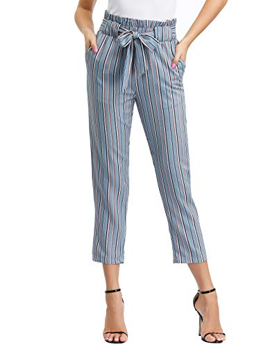 (GRACE KARIN Women's Pants Trouser Slim Casual Cropped Paper Bag Waist Pants with Pockets (Large, Striped))
