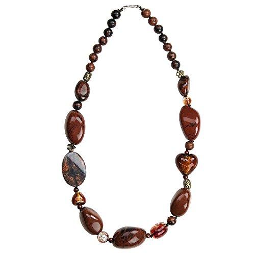 Gempro Genuine Brown Jasper Necklace (Fabric Necklace Jasper)