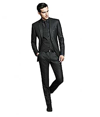 Botong Dark Grey Wedding Suits for Men 3 Pieces Business