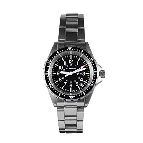 Swiss Quartz Movement Mineral Crystal - MARATHON WW194027 Swiss Made Military Issue Milspec Diver's Quartz Medium Watch with Tritium Illumination (Stainless Steel Bracelet)