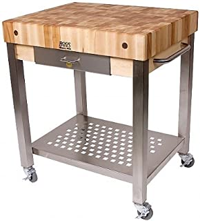 product image for John Boos Cucina Technica End Grain Maple Butcher Block on Stainless Steel Rolling Cart, 30 x 24 Inch