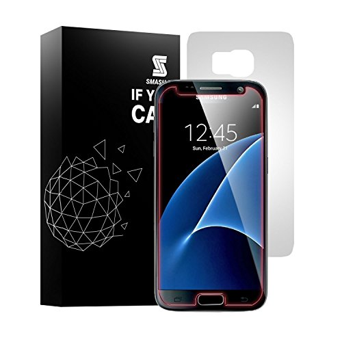 Smash-It Samsung Galaxy S7 Premium Tempered Glass Screen Protector + Matt PET Film for Back with Anti-Fingerprint Anti-Scratch and Bubble-Free Installation Red